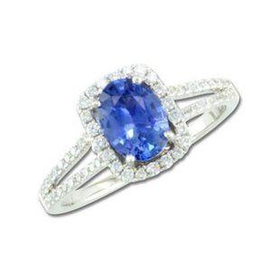 Ceylon sapphire with diamonds 3.25 carats Annivers